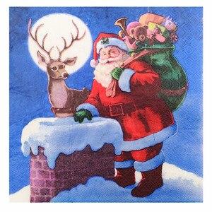 Image 3 - 20 בציר מפית נייר מודפס סנטה קלאוס איש שלג צביים מגזרת נייר servilletas חתונה חמוד ילדים מסיבת יום הולדת דקור