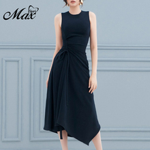 Max Spri 2019 New Sexy Solid Black Dress O-neck Tied Draped Asymmetric Hem Women Midi Dress недорого