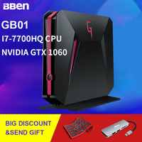 Bben GB01 Desktop Mini PC Win10 Intel I7 7700HQ CPU GDDR5 6GB NVIDIA GEFORCE GTX1060 8G DDR4 128G SSD 1THDD RJ45 WIFI BT4.0