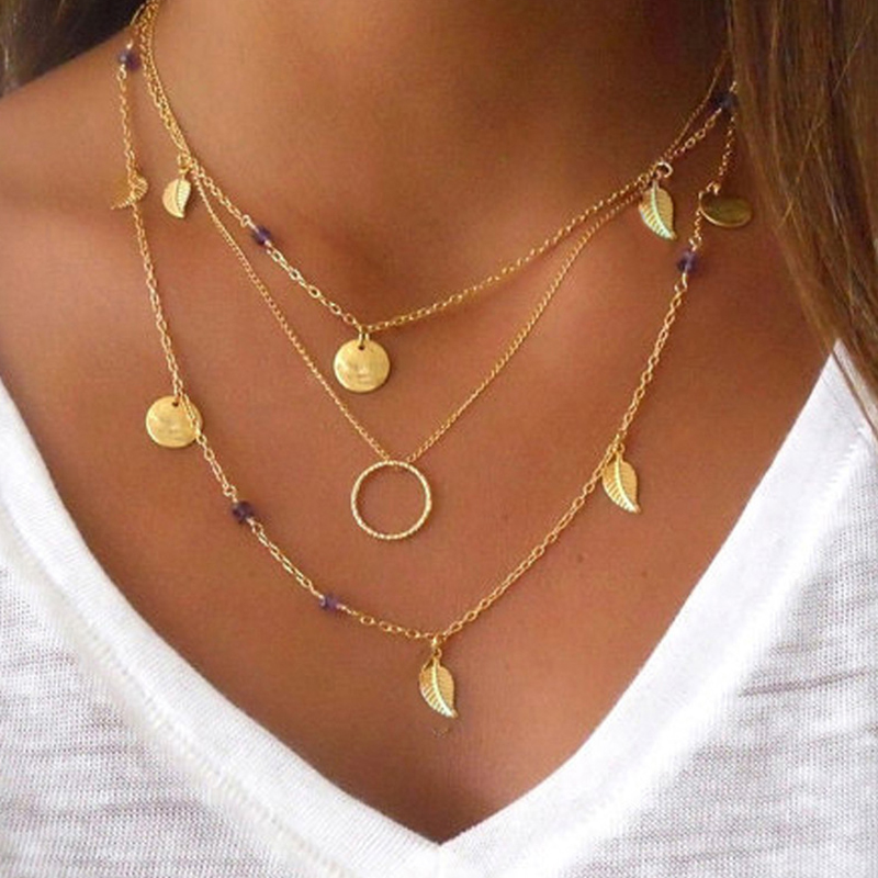 Chain Leaves Multi Layer Choker Necklace