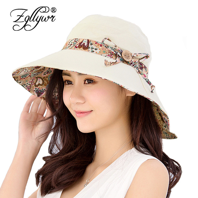 a10ea6cc3f4bf Zgllywr Womens Sun Hats Summer Reversible Bowknot UPF 50+ Beach Hat  Foldable Wide Brim Cap Travel Packable UV Protection