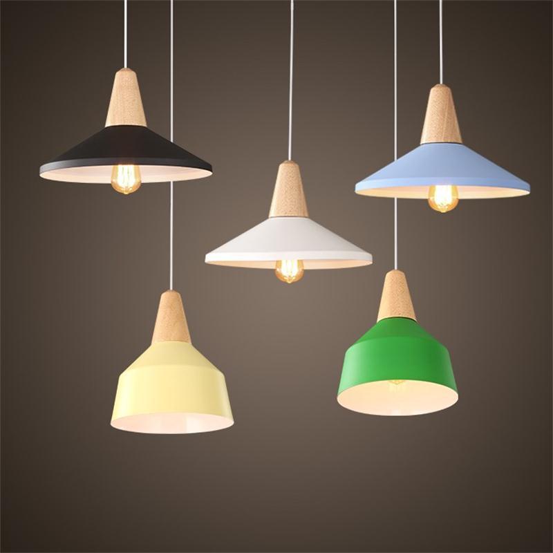 modern wooden pendant lights aluminum industrial lighting nordic hang lamps colorful restaurant coffee bar droplight fixtures