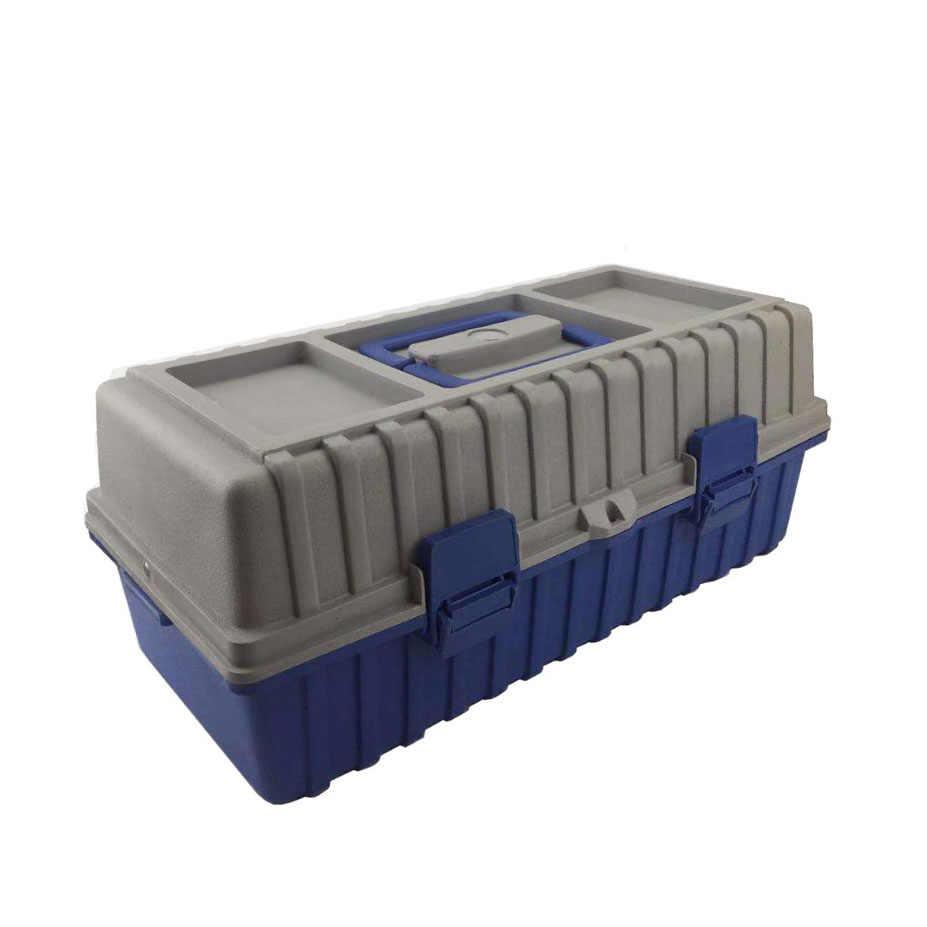 Tiga Lapisan Plastik Peralatan Toolbox Multi-Fungsi Besar Perbaikan Rumah Tukang Listrik Kotak Penyimpanan Mobil Kasus Seni Kotak Alat