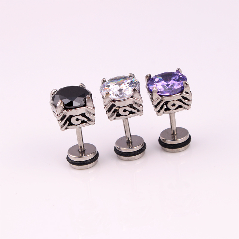 Fashion Vintage Zirconia Earrings Stainless Steel White Black Purple Crystal Zirconia Stone Stud Earrings Jewelry For Men Women