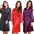 Rayon Mulheres Roupão Kimono Robe de Cetim Lingerie Sexy Clássico Pijamas com Cinto Partido Bridemaid Vestes Robe 01060
