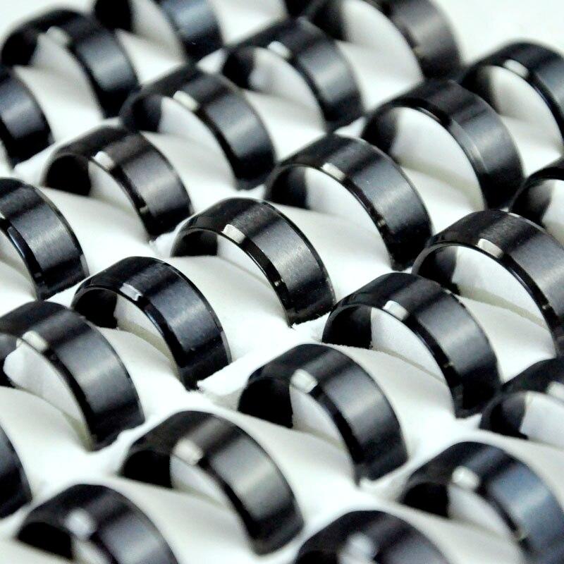 100Pcs Black Stainless Steel Men Rings Lots Jewelry Big Wholesale Bulks RL4144
