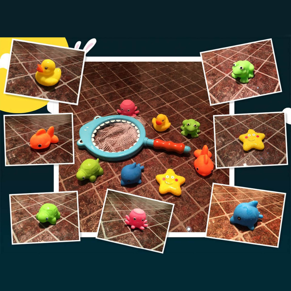 Bath Toy 8PCS/Sets Fishing Toys Network Bag Duck Fish Kid Summer ...