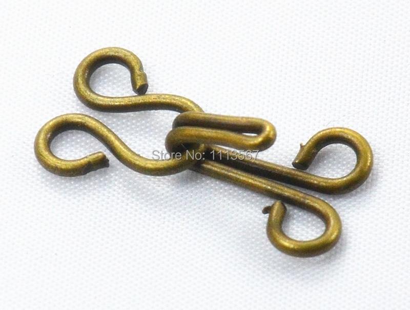 ᗛ100 piezas artesanía bronce antiguo metal cintura Ganchos y Ojos ...