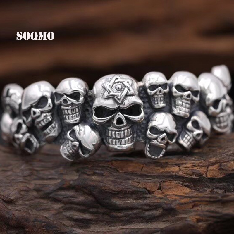 SOQMO 100% 925 Silver Punk Matte Skull Bangles For Men Brushed Skull Charm Link Chain Brecelet Male Gothic Jewelry SQM014