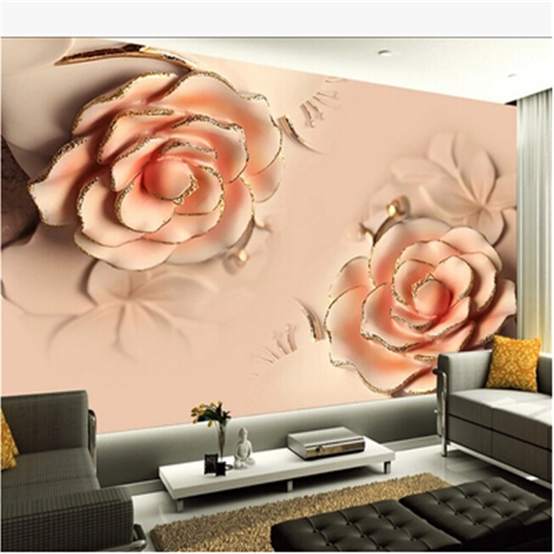 beibehang 3d photo wallpaper 3D stereoscopic Romantic Pink Rose Flower marriage room TV backdrop modern living room 3d wallpaper pink romantic sakura reflection large mural wallpaper living room bedroom wallpaper painting tv backdrop 3d wallpaper