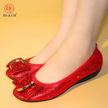 New Arrival Women Flats Ballet Shoes Breathable Knitted Square Toe Red Color Flat Ballerina Shallow Butterfly knot Colorful Shoe недорого
