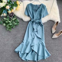2019 Summer Lady Causal Ruffled Short-sleeved Wrap Dress V-neck High Waist Solid Graceful Holiday Beach Women Sashes Vestidos(China)