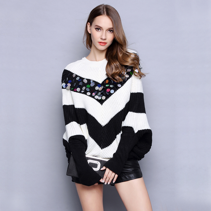 Women oversized sweaters knitted pullover Sequined Fashion runway designer long batwing sleeves lady knit sweater Big size OM043