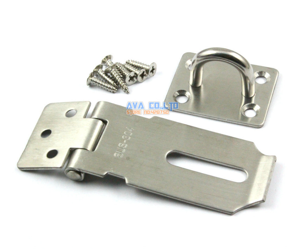 House Fitting Stainless Steel Padlock Hasp Staple Set 40mm x 85mm Come With Screws mini stainless steel stapler staple set red