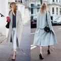 2016 Новый Дизайн Зимнее пальто женщины Серый Шерстяное Пальто Траншеи Негабаритных Теплый женские пальто Европейской Моды женской одежды L870