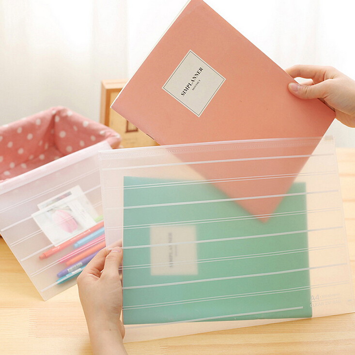 10 Pcs/lot Brief Style Striped Transparent A4 A5 File Folder File Bag Document Bags Office Stationery Filing Production