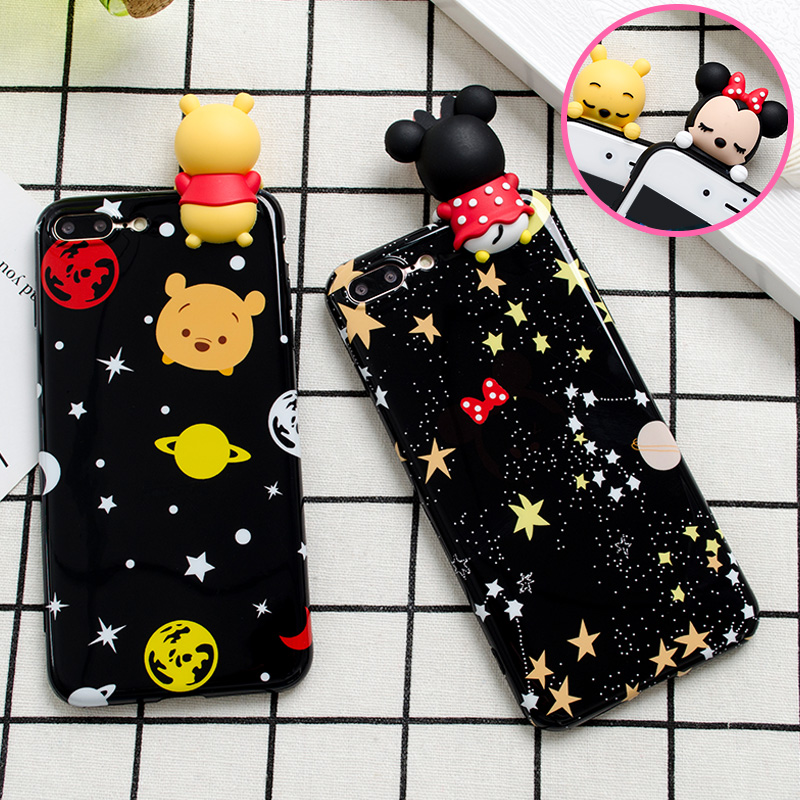 Cute 3D toys Satrs Minnie bear phone Cases For iphone 6 6s 6plus 7 7Plus Glossy