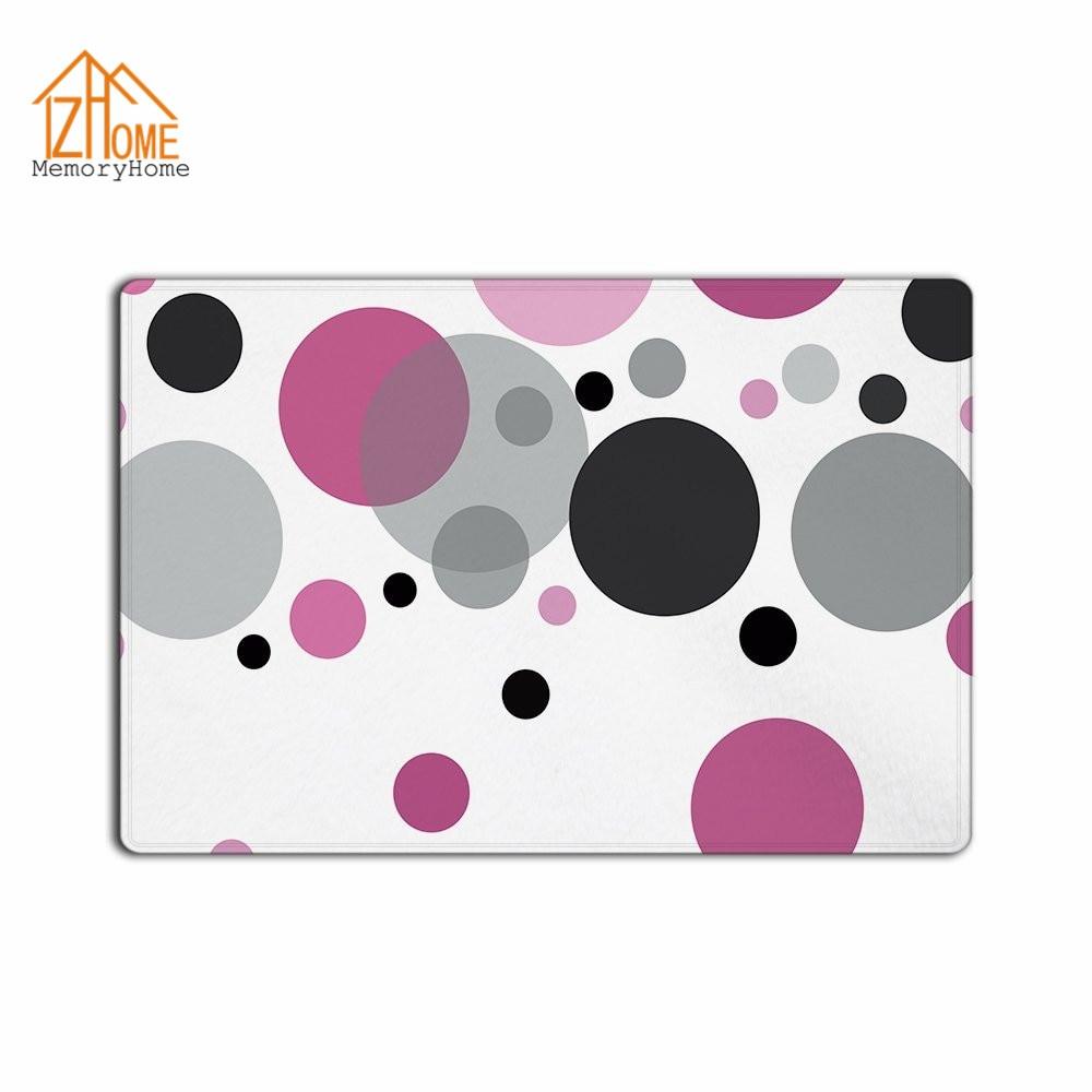 Memory Home Custom Popular Pink Polka Dots Machine Washable Fabric Non Slip  Indoor Rug Funny Doormat Floor Mat