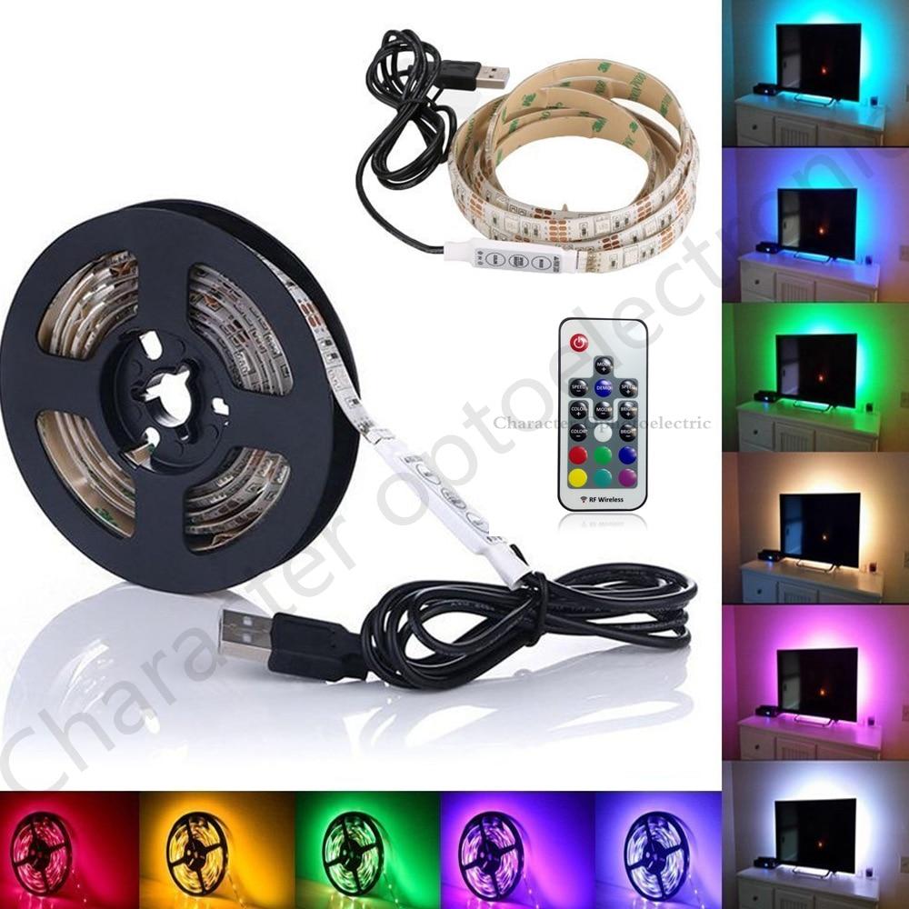 USB 5050 RGB LED light strip 5V 1m 2m 3m 4m 5m USB decorative lamp plus 17 key controller for PC LCD TV background illumination