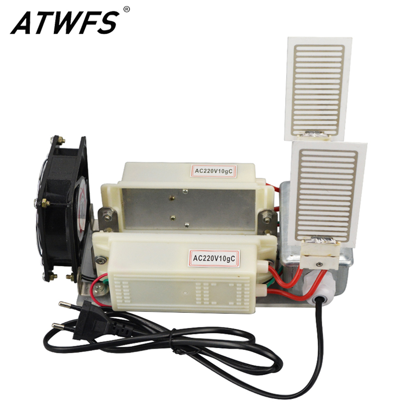ATWFS 20g Portable Ozone Generator 220v EU Plug Fan Air Cleaner Ozonator Home 2pcs Ozone Plates