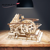 MOMEMO DIY Wooden Puzzle Toys Marble Run Game Gear Drive Wooden Model Building Assembly Toy Christmas Gift for Children Adult
