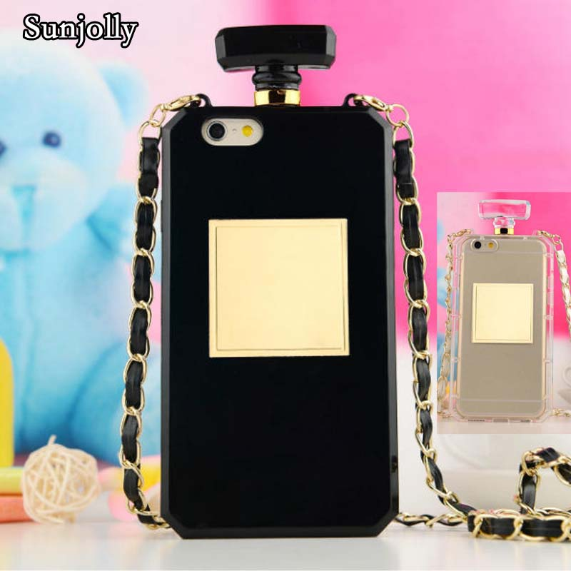 Sunjolly Chain Silicon Perfume Bottle Mobile <font><b>Phone</b></font> <font><b>Case</b></font> for Huawei P8 P9 Lite P9 Plus <font><b>Lanyard</b></font> Rubber Strap Soft Cover coque capa