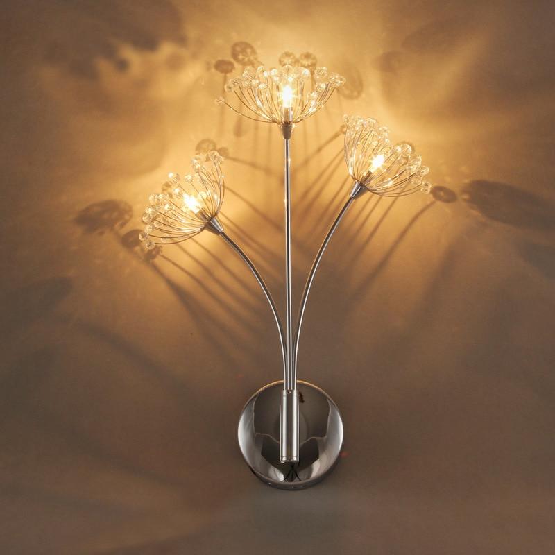 Modern Simple LED Crystal Wall Lamp Living Room Dining Room Bedroom Lamp Creative Cafe Club KTV Dandelion Lamp Free Shipping dandelion print dining mat
