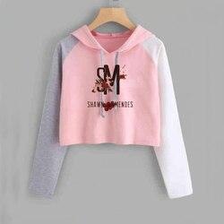 Shawn Mendes Cropped Hoodie Women Long Sleeve Short Sweatshirt with Hood Ladies Hip Hop Pullover Tops Female 4