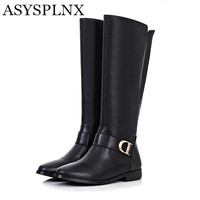 Genuine Leather Black Brown Flat Women Ridding Knee High Boots Winter Western Style Buckle Round