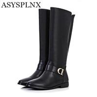 ASYSPLNX Hakiki deri siyah kahverengi düz kadın biniyordu diz yüksek çizmeler kış Batı toka yuvarlak ayak zarif bayanlar ayakkabı