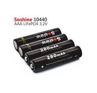 4 pcs Soshine 10440 280 mAh 3.2 V LiFePO4 Ricaricabile Batteria AAA + Portatile Contenitore di Batteria + 2 pcs Batteria connettori