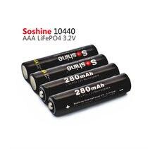LiFePO4 4 pcs Soshine 10440 280 mAh 3.2 V Recarregável AAA Bateria Portátil + Caixa de Bateria + 2 pcs Bateria conectores