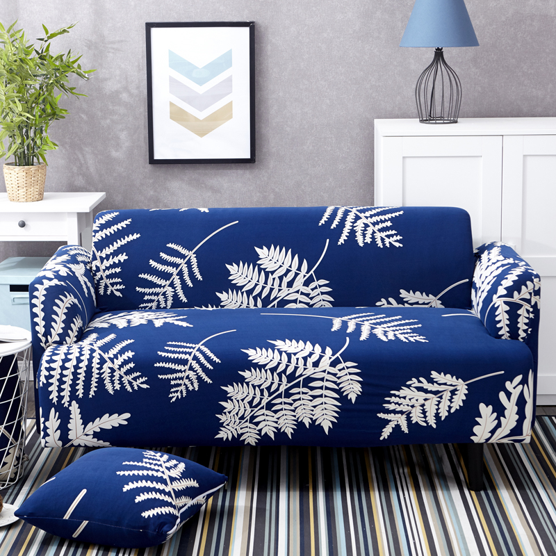 Elastic Sofa Cover Blue Print With White Leaves Stretchable And Machine  Washable Suitable For Living Room
