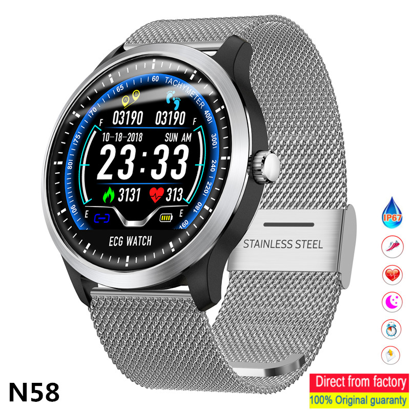 Smart watch Men N58 heart rate ECG PPG ECG blood pressure test fitness tracker IP67 waterproof men must have sports Smartwatches-in Smart Watches from Consumer Electronics    1