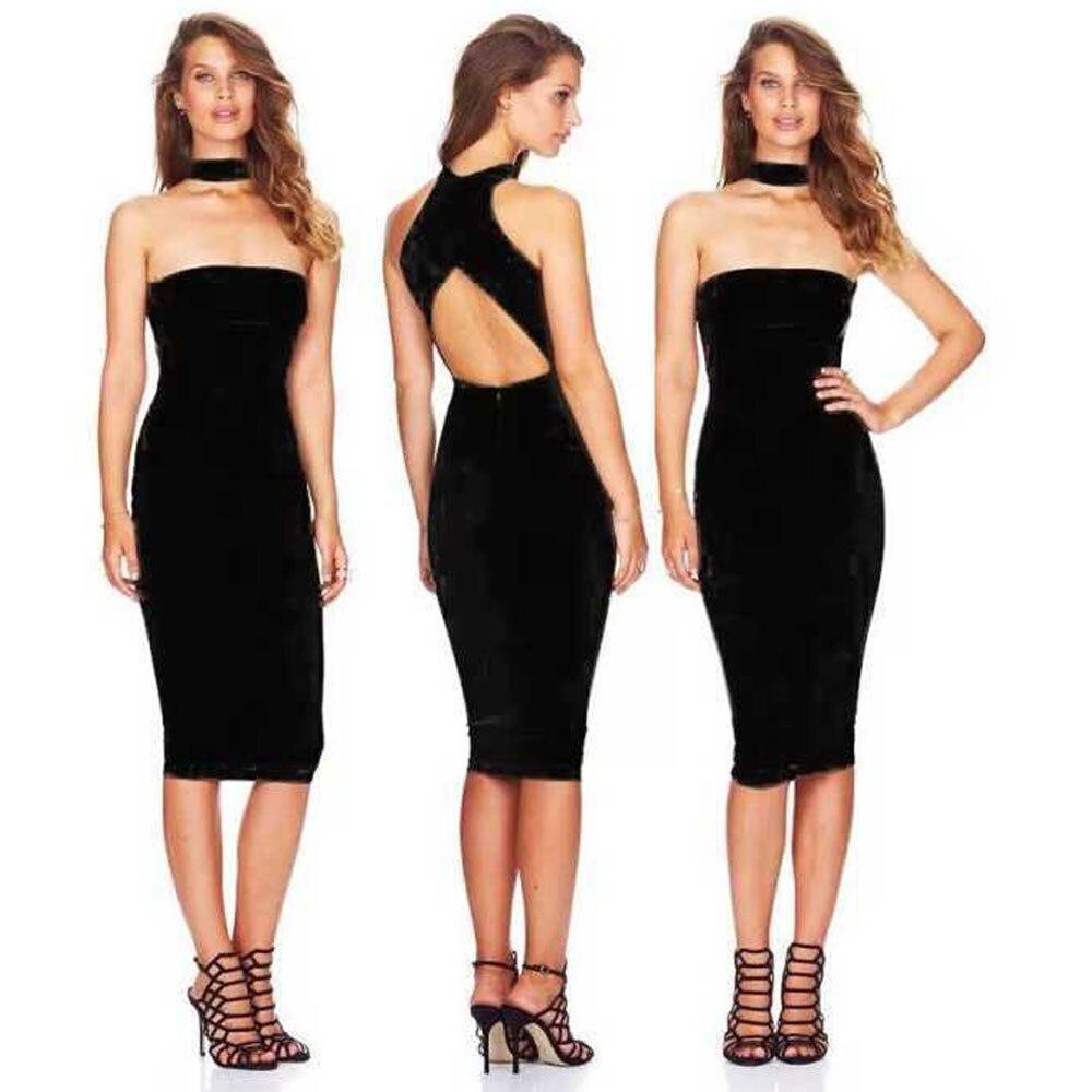 Kadın Giyim'ten Elbiseler'de Siyah kolsuz backless diz boyu 2018 yeni varış gece gece elbisesi bandaj rayon elbise'da  Grup 1
