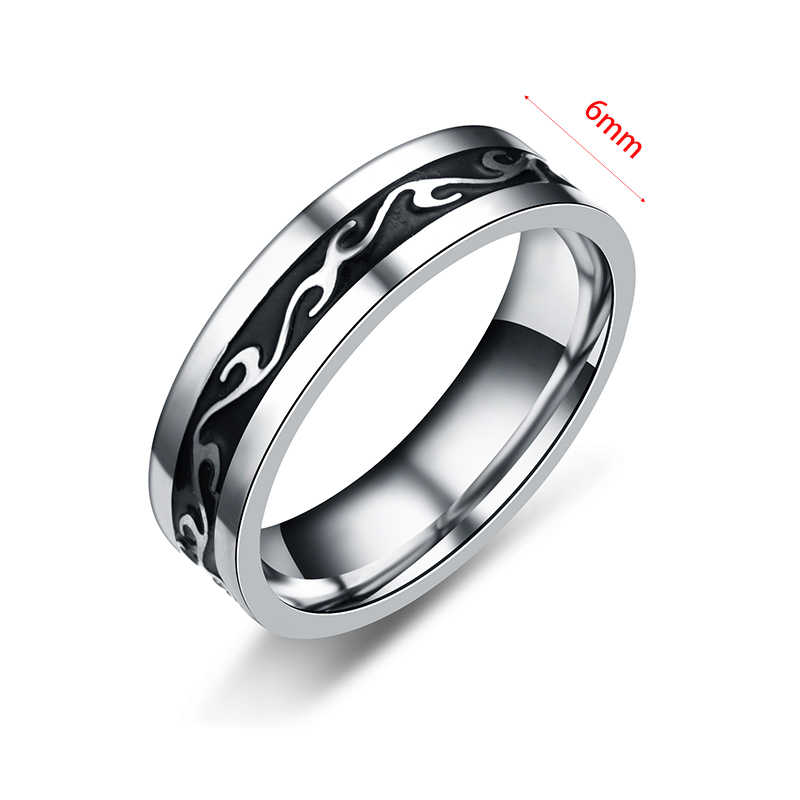 Stainless Steel Dragon Pattern Men Rings 6mm Vintage Wedding Bands for Men jewelry Wholesale