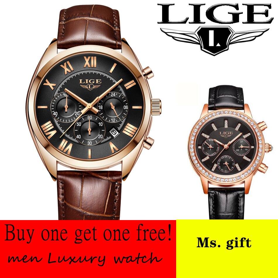 Envoyer dames montre LIGE hommes montres Top marque de luxe en cuir montre à quartz décontractée hommes militaire Sport étanche horloge or montre