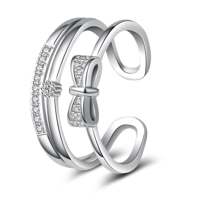 Ehrgeizig Utimtree Mode Zirkonia Ringe Schmuck 925 Sterling Silber Bowknot Einstellbare Ring Für Frauen Weihnachten Geschenk Tropfen Verschiffen Mangelware Hochzeits- & Verlobungs-schmuck Schmuck & Zubehör