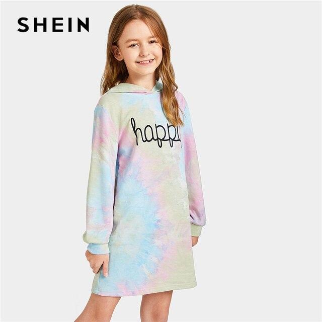 SHEIN детское повседневное короткое платье с капюшоном и буквенным принтом для девочек, весна 2019, детские платья с длинными рукавами для девочек