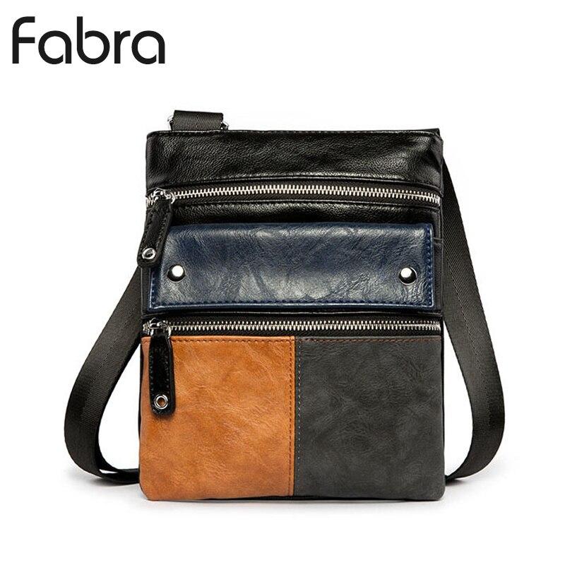 Fabra New Fashion PU Leather Men Messenger Bags Men Business Small Crossbody Shoulder Bag Casual Man Patchwork Flap Travel Bag