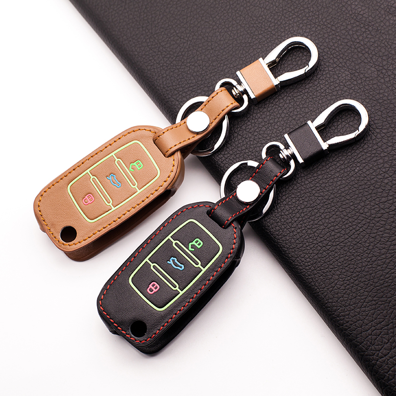 Luminous Genuine Leather Car Key Cover for Volkswagen Jetta Tiguan Passat POLO Golf For  ...