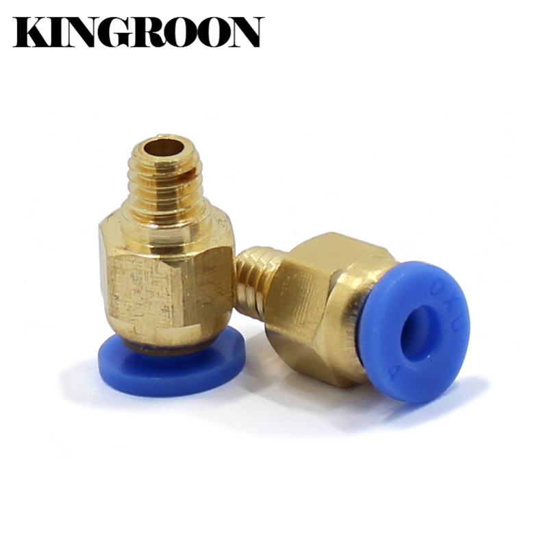 2pcs PC4-M6 Pneumatic Straight Connector Coupler Part For MK8 OD 4mm 2mm Tube Filament M6 3D Printers Parts Brass Feed Fitting diy 4mm hexagonal coupler connector for r c car bronze
