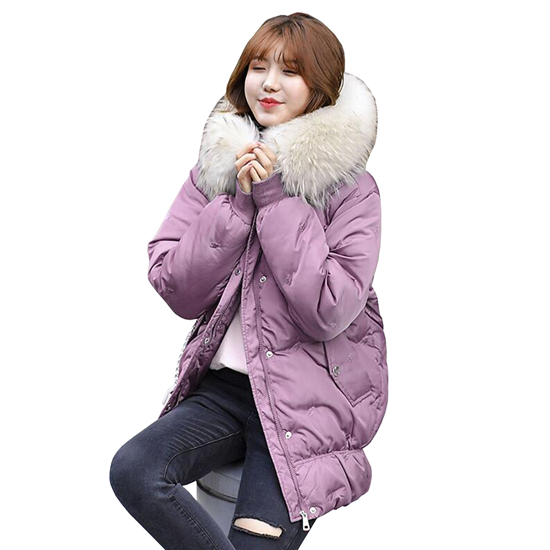 Large Fur Down Jacket Winter Women New Fashion Loose Plus size Hooded Down Cotton Padded Jacket Coat Female Thick Warm   Parkas