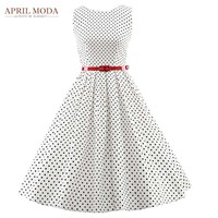 50s Vintage Polka Dots Dress Plus Size Womens Summer Casual Rockabilly Audrey Hepburn Dress With Belt