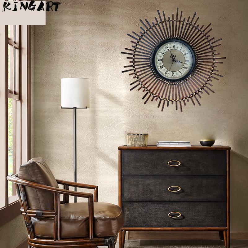 Horloge murale Antique Vintage bambou & bois cadre montre murale Antique couleur décoration murale Quartz rétro horloge murale