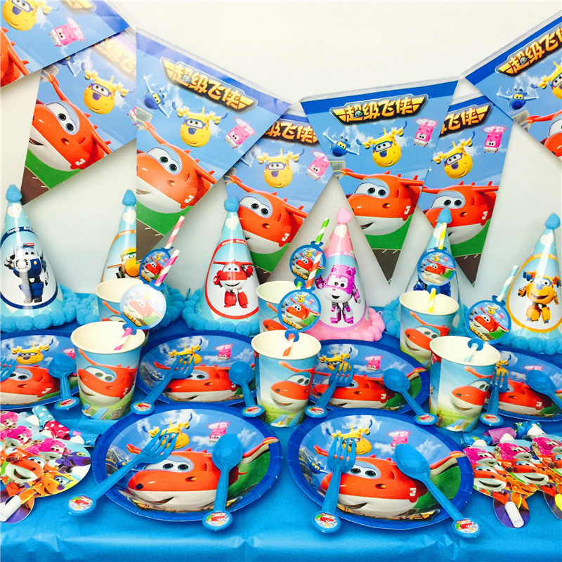 55pcs lot Happy Birthday Party Cups Plates Super Wings Theme Kids Favors Caps Decorate Flags Superwings