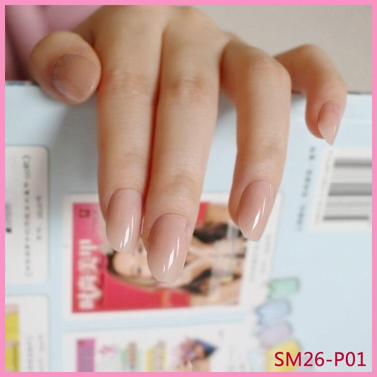 Online Shop Shiny Fake Nails Clear Light Pink Plastic False Nail ...