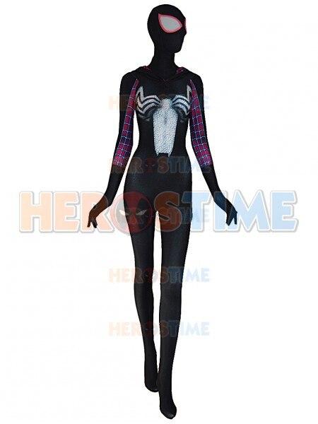 Black Gwen Stacy spiderman Costume Spandex fullbody Gwen Cosplay spiderman costume With Hat Woman/Female Superhero Costume