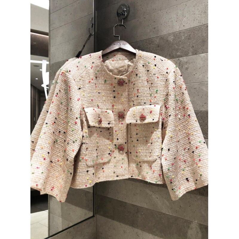 봄 가을 여성 레트로 트위드 자켓 실크 라이닝 2019 고품질 컬러 라운드 넥 쇼트 코트-에서베이식 쟈켓부터 여성 의류 의  그룹 1