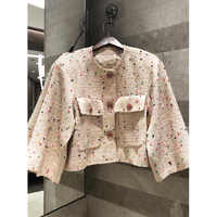 Spring Autumn Women's Retro Tweed Jacket Silk Lining 2019 high quality colored round neck short coat